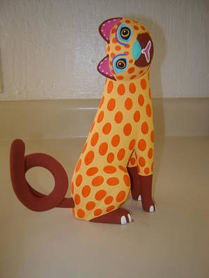 Cat Wood Carving Sculpture -   Little Cat by Luis Pablo