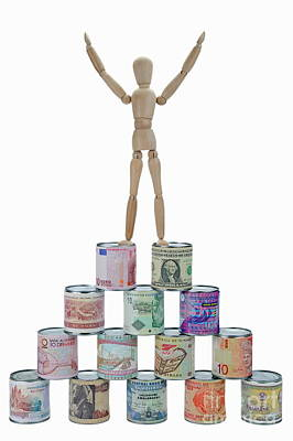 On Paper Photograph -  Mannequin On Banknotes Pyramid by Sami Sarkis