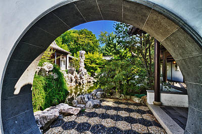 Photograph -  Moon Gate In Chinese Scholar Garden by Val Black Russian Tourchin
