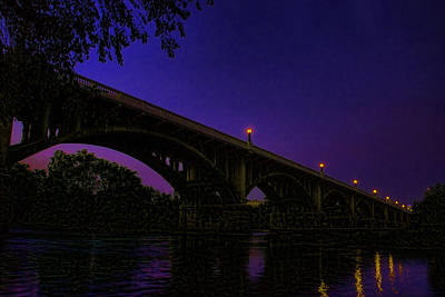 Photograph -  Night Glow On The Gervais Bridge by Steven Richardson