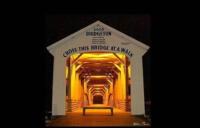 Bridgeton Covered Bridge Photograph -  Night Glow by Robin Pross