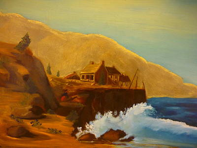 Painting - Gathering Of Flowers By The Fishing Cabin by Casey P