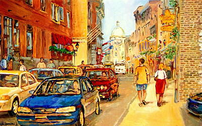 Montreal Restaurants Painting -  Old Montreal Paintings Aux Delices De L'erable The Maple Syrup Shop Rue St. Paul Montreal Street  by Carole Spandau