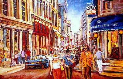 Quebec Streets Painting -  Old Montreal Paintings Restaurant Du Vieux Port Rue St. Paul Montreal Street Scene  by Carole Spandau