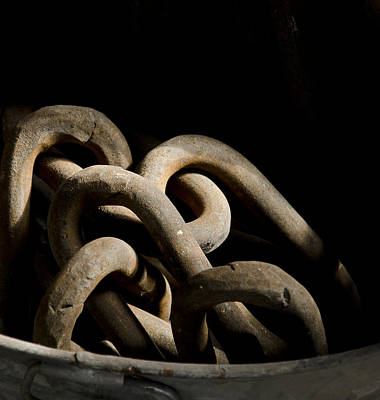 Photograph -  Old Rusty Chain In A Bucket by Wilma  Birdwell