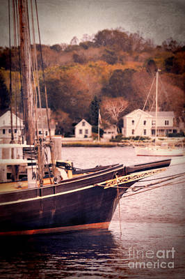 Old Ship Docked On The River Art Print by Jill Battaglia