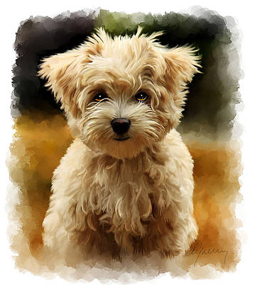 Painting -  Pet Dog Portrait by Michael Greenaway