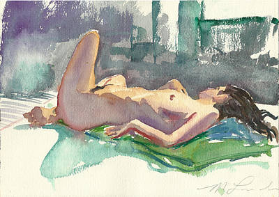 Reclining Nude Art Print by Mark Lunde