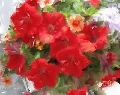 Mixed Media -  Red Petunia by Hai Pham
