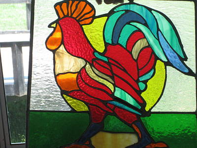 Stained Glass Rooster Glass Art -  Rooster by Ralph Hecht