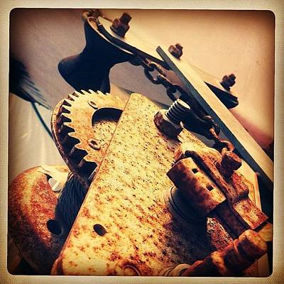 Gears Wall Art - Photograph -  Rusty Gears - Gotta Love That! by Kiki Bird