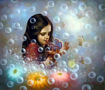 Korea Painting -  Soap Bubble Girl 2 by Yoo Choong Yeul