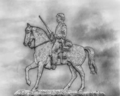 Stone Sentinel Gettysburg Battlefield Sketch Art Print by Randy Steele