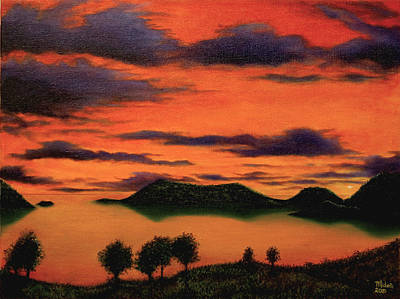 Painting -  Sunset From Green Hill Thursday Island by Joe Michelli