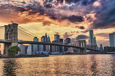 Photograph -  Sunset Over The Brooklyn Bridge by Val Black Russian Tourchin