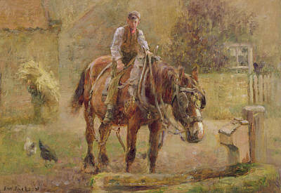 Horse Fence Painting -  The Drinking Trough  by Frederick William Jackson