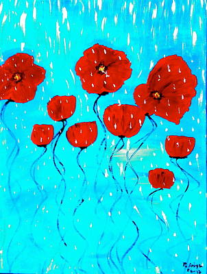 Painting -  The Red Poppies Dancing In The Rain by Pretchill Smith