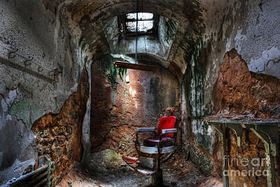 Photograph -  Time For A Cut- Barber Chair - Eastern State Penitentiary by Lee Dos Santos