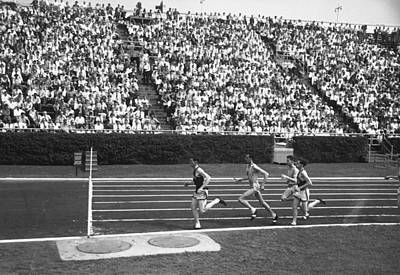 Track Athletes Running On Track, (b&w), Elevated View Art Print by George Marks