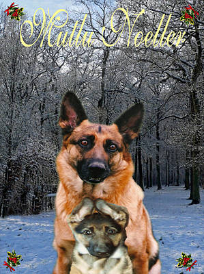 Mixed Media -  Turkish Holiday German Shepherd And Puppy by Eric Kempson
