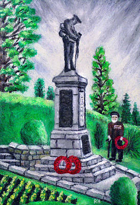 War Memorial Painting -  Veteran At The Cenotaph by Ronald Haber