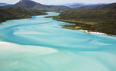 Whitehaven Beach And Hill Inlet In Whitsunday Islands National Park, Queensland, Australia Art Print by Peter Walton Photography