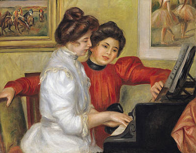 Piano Painting -  Yvonne And Christine Lerolle At The Piano by Pierre Auguste Renoir
