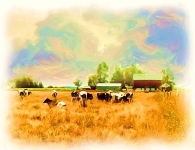009 Cows In Back 40 - Oil Art Print by Glen W Ferguson