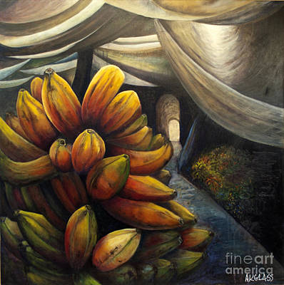 Art Print featuring the painting 01002 Banana Market by AnneKarin Glass