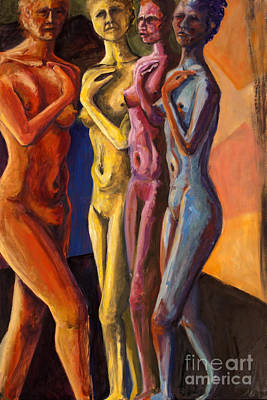 Art Print featuring the painting 01249 Four Sister by AnneKarin Glass