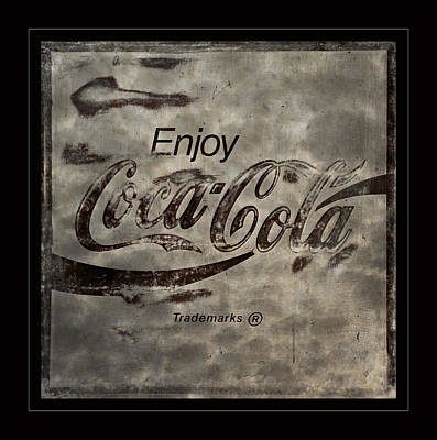Coca-cola Signs Photograph -  Coca Cola Sign Grungy Red Retro Style by John Stephens