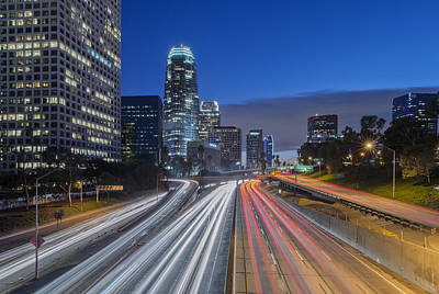 Traffic Congestion Photograph - 110 Freeway & Downtown Los Angeles by Rob Tilley