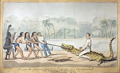 1826 Naturalist Charles Waterton & Caiman Art Print by Paul D Stewart