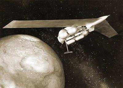 Wernher Von Braun Photograph - 1950s Mars Spacecraft Design by Detlev Van Ravenswaay