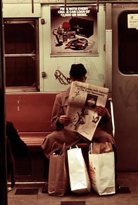 Alienation Photograph - 1970s America. Graffiti On A Subway by Everett