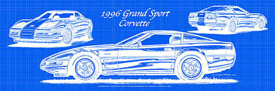 Digital Art - 1996 Grand Sport Corvette Blueprint by K Scott Teeters