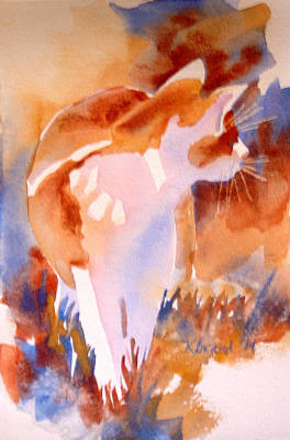 Fauna Painting - 2004 Cat On The Prowl  I  by Kathy Braud