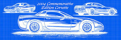 Digital Art - 2004 Commemorative Edition Corvette Blueprint by K Scott Teeters