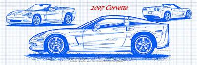 Digital Art - 2007 Corvette Blueprint Series by K Scott Teeters