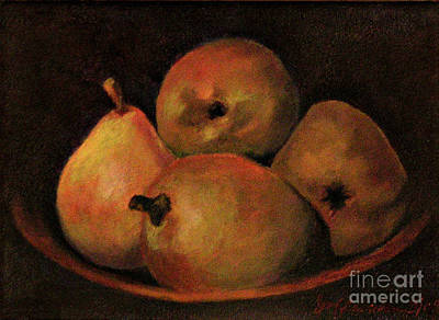 Painting - 4 Pears by Susan M Fleischer
