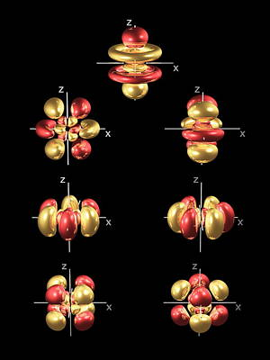 5f Electron Orbitals, General Set Art Print by Dr Mark J. Winter