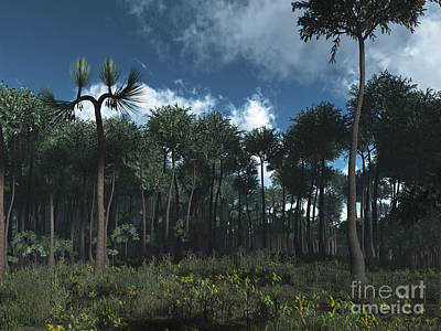 Prehistoric Digital Art - A Carboniferous Forest Of Midwestern by Walter Myers