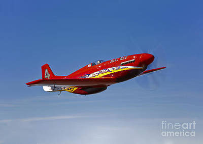 A Dago Red P-51g Mustang In Flight Art Print by Scott Germain