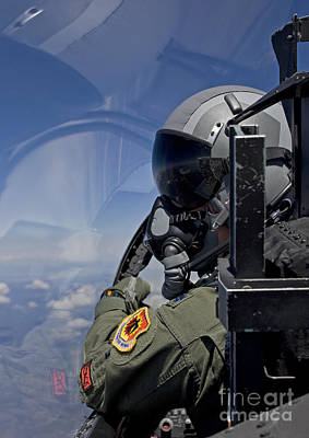 A F-15 Pilot  Looks Over At His Wingman Art Print by HIGH-G Productions