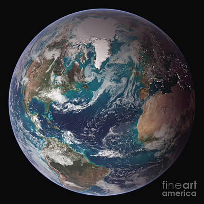 Photograph - A Full View Of Earth Showing Global by Stocktrek Images