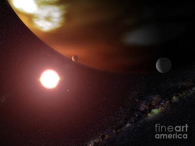 Gliese Digital Art - A Gas Giant Planet Orbiting A Red Dwarf by Stocktrek Images