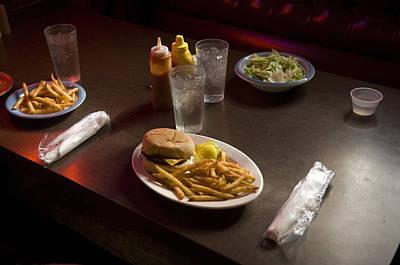 A Hamburger Lunch At A Restaurant Art Print by Joel Sartore