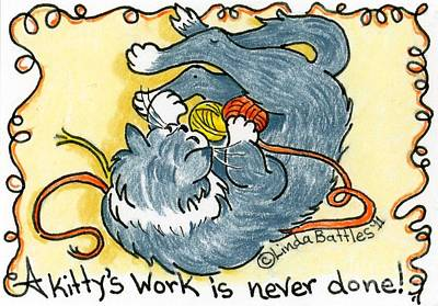 A Kitty's Work Art Print by Linda Battles