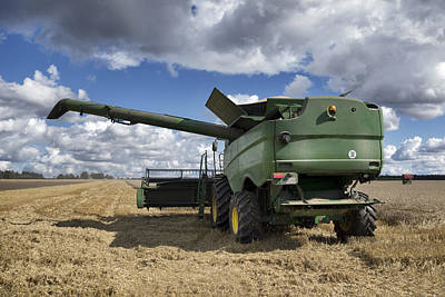 A Large Combine Harvester Machinery Art Print by Jaak Nilson