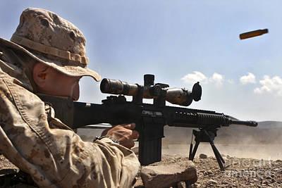 A Scout Sniper Fires His Mk-11 Sniper Art Print by Stocktrek Images
